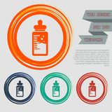Baby milk bottle icon on the red, blue, green, orange buttons for your website and design with space text. Royalty Free Stock Image