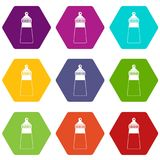 Baby milk bottle icon set color hexahedron. Baby milk bottle icon set many color hexahedron isolated on white vector illustration Royalty Free Stock Photo