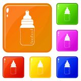 Baby milk bottle icons set vector color. Baby milk bottle icons set collection vector 6 color isolated on white background vector illustration