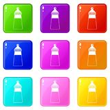 Baby milk bottle set 9. Baby milk bottle icons of 9 color set isolated vector illustration Stock Photography