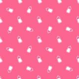 Baby milk bottle vector seamless pattern. Pink baby milk bottle vector seamless pattern Stock Image