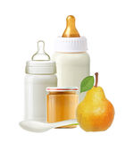Baby milk bottles, jar of baby puree, pear and spoon isolated Stock Photos