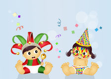 Baby minstrel and girl harlequin Royalty Free Stock Image