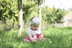 Baby mit Äpfeln im Garten Stockfotografie