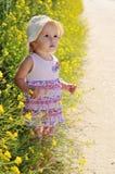 Baby mit Blume Stockbild