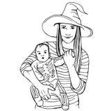 Baby mit der Mutter gekleidet in Halloween-Kostümen Stockbilder
