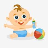 Baby mit einem Friedensstifter und einem Ball Lizenzfreie Stockfotos