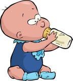 Baby mit einer Flasche stock abbildung