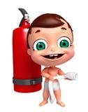 Baby mit Feuerlöscher Stockbild