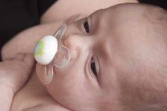 Baby mit Friedensstifter im Mund Lizenzfreies Stockbild