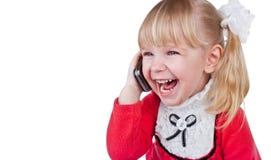 Baby mit Telefon Stockbild