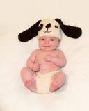 Baby mit Welpenhut und -hosen Lizenzfreies Stockbild