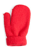 Baby mitten. Red baby mitten over white background stock images