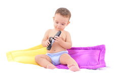 Baby and a Mobile Stock Photo