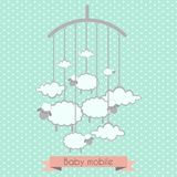 Baby mobile with little lambs and clouds. Baby shower invitation, template for scrapbooking, cards royalty free illustration
