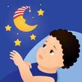 Baby and mobile moon toy Stock Photography