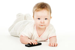 Baby with mobile phone Stock Photos