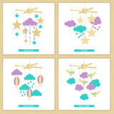Baby mobile set 3. Childbirth card. Baby shower invitation. Vector baby mobile for baby card design. Vector hanging baby toy. Isolated baby mobile set Royalty Free Stock Image