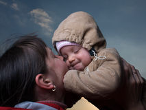 Baby with mom. Portrait of baby with mom Royalty Free Stock Photography