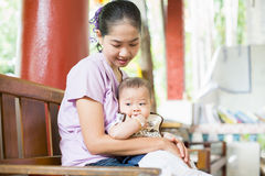 Baby and mom. Mother loves her son so much Stock Images
