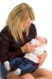 Baby with mom portrait stock photos