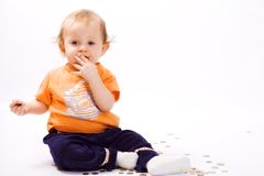 Baby and money Stock Photo