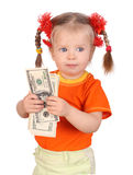Baby with money in hand. Royalty Free Stock Image