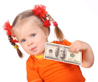 Baby with money in hand. Royalty Free Stock Photo