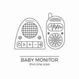 Baby monitor vector line icon. Radio nanny set for newborn. Detailed symbols Stock Photography