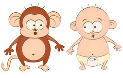 Baby and monkey Stock Image