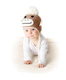 Baby in monkey hat Royalty Free Stock Photos