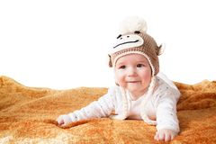 Baby in monkey hat Royalty Free Stock Photography