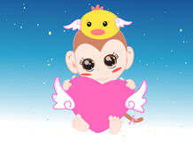 Baby monkey hug Royalty Free Stock Image