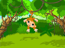 Baby Monkey on a Tree. Illustration of monkey on a tropical forest landscape Royalty Free Stock Photos