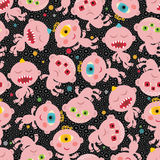 Baby monsters seamless background. Royalty Free Stock Image