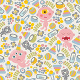 Baby monsters seamless background. Royalty Free Stock Photo
