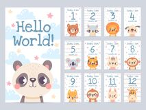Free Baby Month Cards With Animals. Monthly Milestone Stickers For Newborn Scrapbook. Kids Age Tags With Sloth, Lion, Giraffe Stock Image - 209951301
