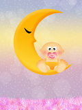 Baby on the moon Royalty Free Stock Photo