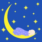 Baby and moon Stock Photography