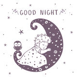 Baby on the moon. Illustration silhouette cute baby is sleeping on the moon with owl. Vector illustration Stock Photography