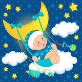 Baby on the moon vector. Baby boy swings on a swing attached to the moon Stock Photos