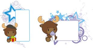Baby moose cartoon feeding bottle copy space. Baby animal cartoon feeding bottle in vector format very easy to edit vector illustration