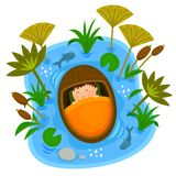 Baby Moses in the ark. Biblical scene of baby Moses sleeping peacefully in the ark while floating on the Nile River Royalty Free Stock Photo