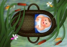 Baby Moses in einem Korb lizenzfreie abbildung
