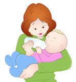 Baby with Mother. Conceptual Art of Mother Feeding Milk to Her Baby Vector Illustration Stock Photos