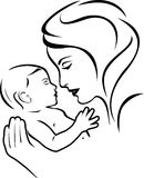 Baby and mother. Black and white Royalty Free Stock Image