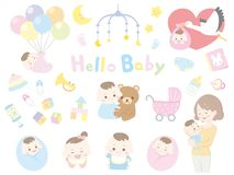 Baby and mother. Child set vector illustration