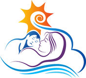 Baby and mother dream sleeping Royalty Free Stock Photos