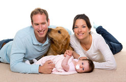 Baby mother and father happy family and dog. Baby mother and father happy family with golden retriever dog on carpet Royalty Free Stock Photography