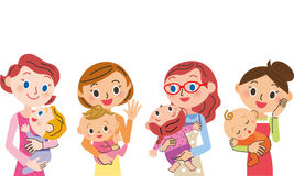 Baby and mother. Hold the baby and enjoy the conversation mother stock illustration